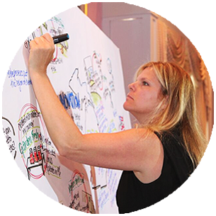 Graphic facilitator adding text and graphics to a whiteboard display