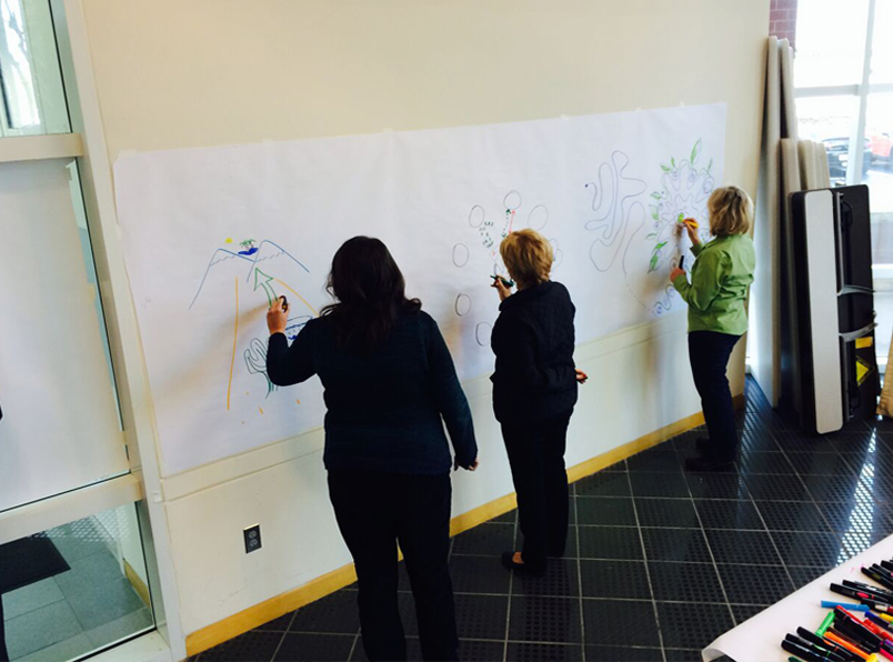 Visual thinking services clients flesh out ideas on paper