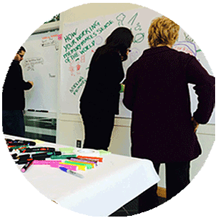 Individuals working on a visual-thinking graphic on a whiteboard